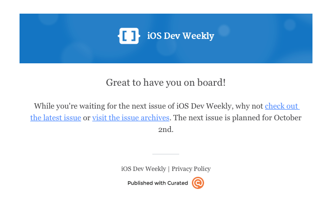 iOS Dev Weekly Subscription Confirmation
