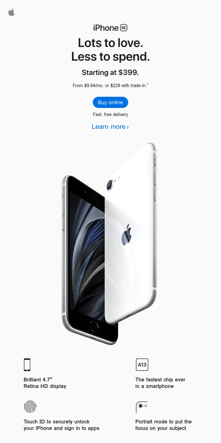 iPhone SE is now available online. Starting at $399.