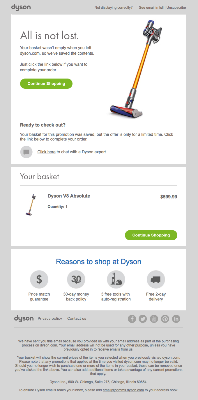 Items in your basket at dyson.com