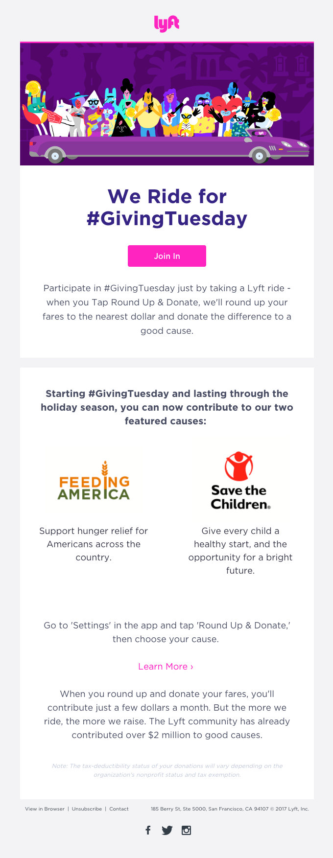 Join #GivingTuesday with Lyft