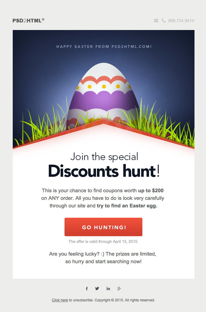 Join the special Easter discount hunt at PSD2HTML.com!