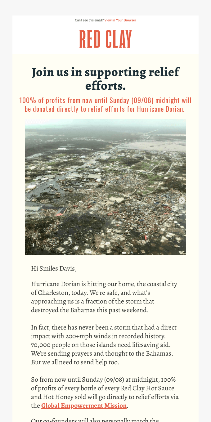 Join us in supporting relief efforts for Hurricane Dorian.