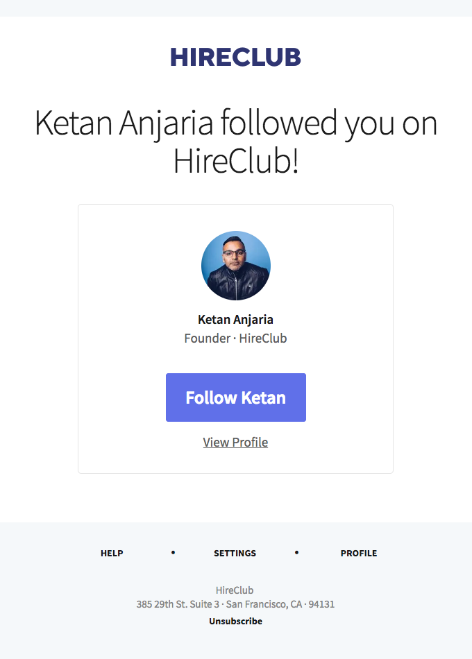 Ketan Anjaria followed you on HireClub