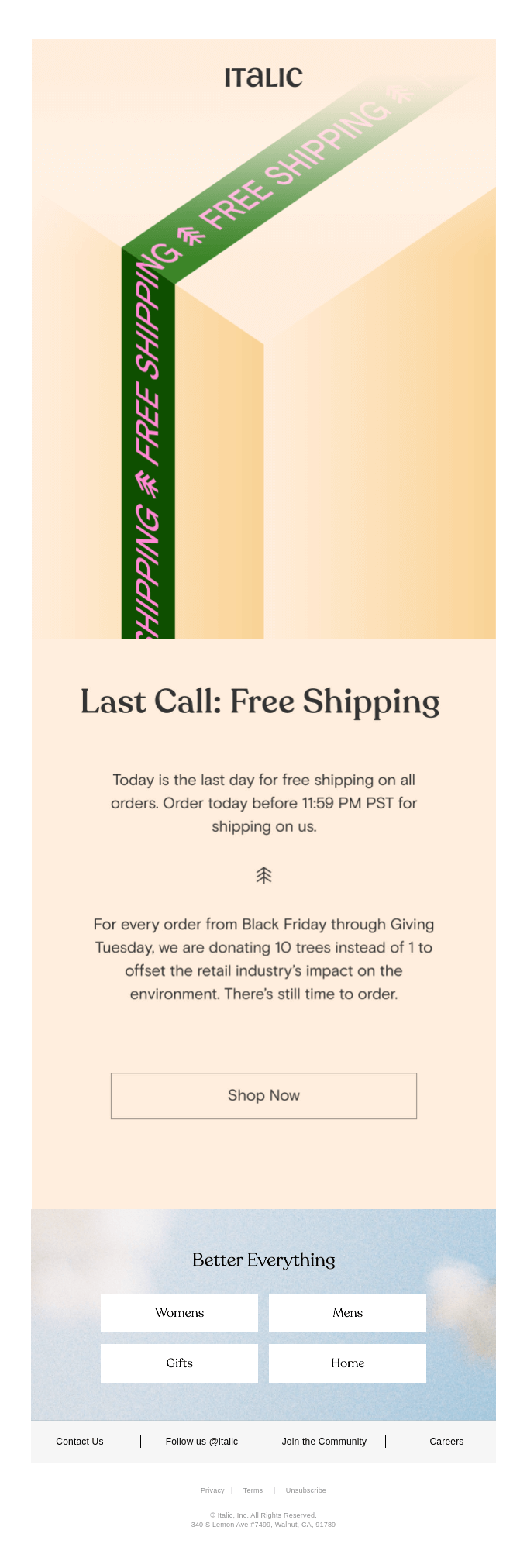 Last chance for free shipping