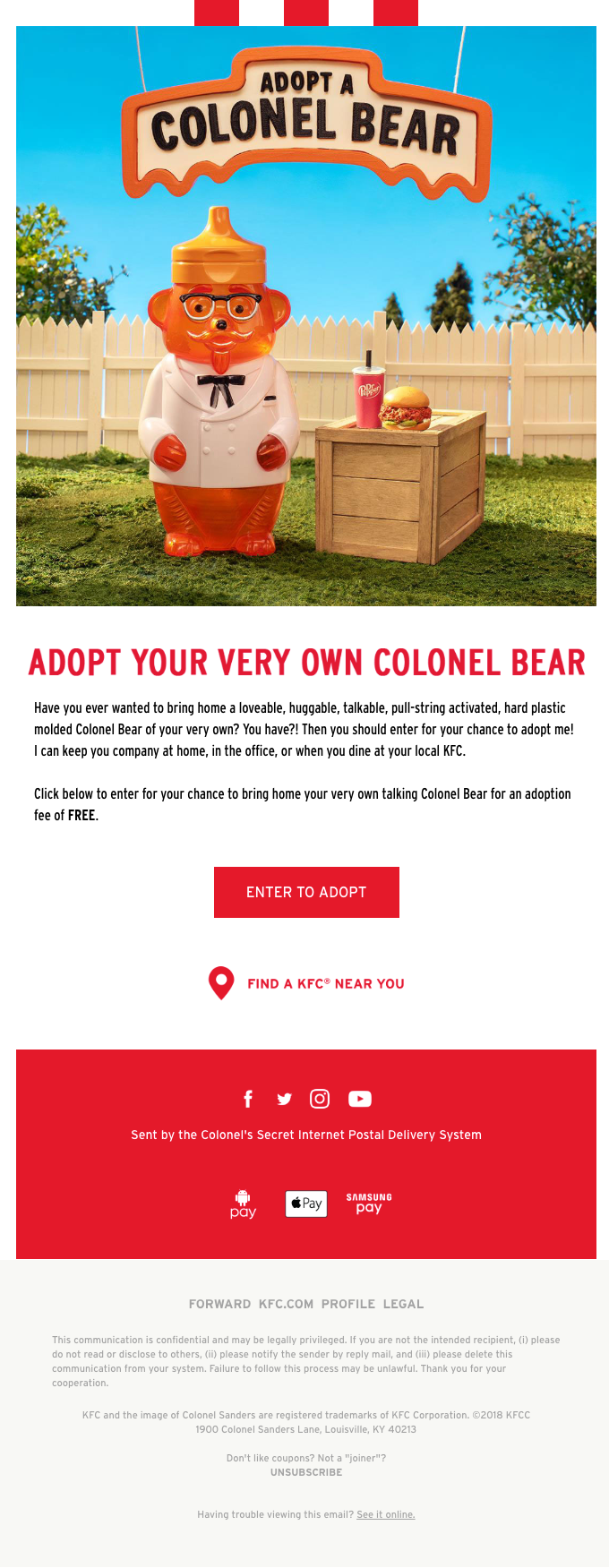 Last chance to get your free talking Colonel Bear figurine!
