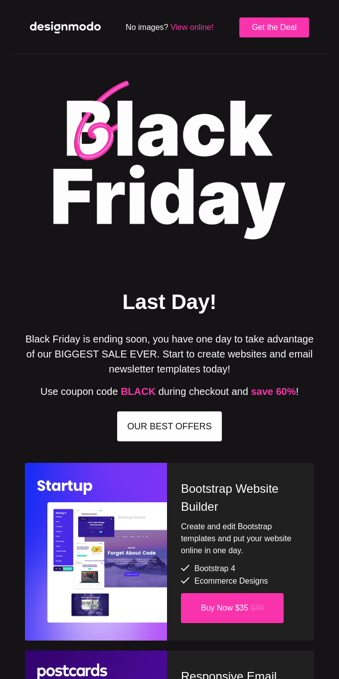 LAST DAY: 60% OFF on Designmodo, Black Friday Sale! 🔥