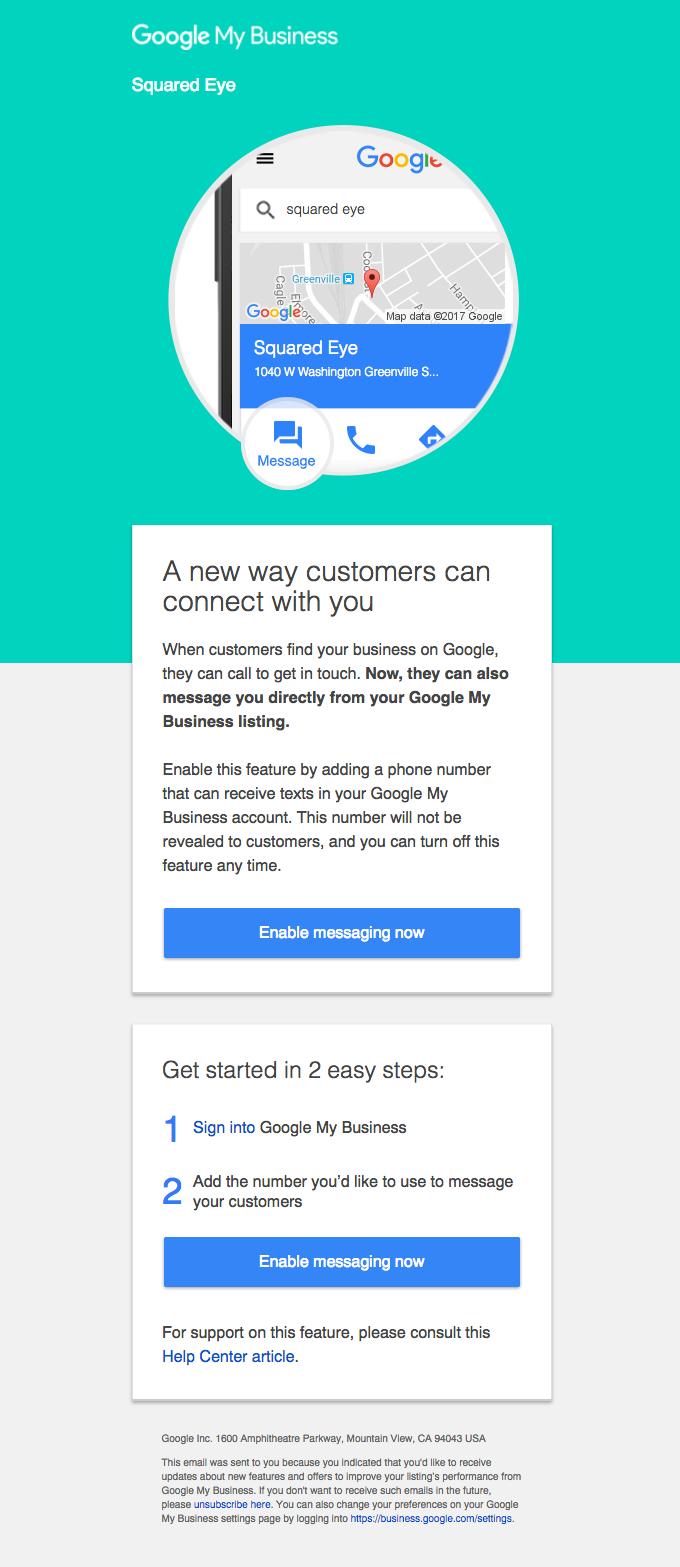 Let customers message you via Google