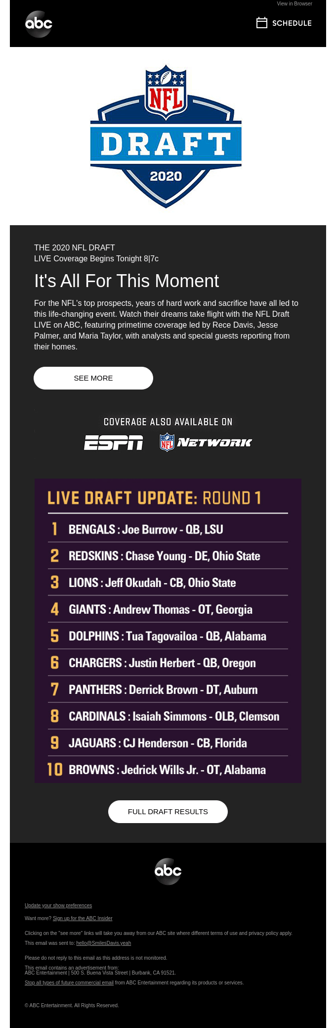 LIVE Coverage of the NFL Draft Begins Tonight at 8|7c