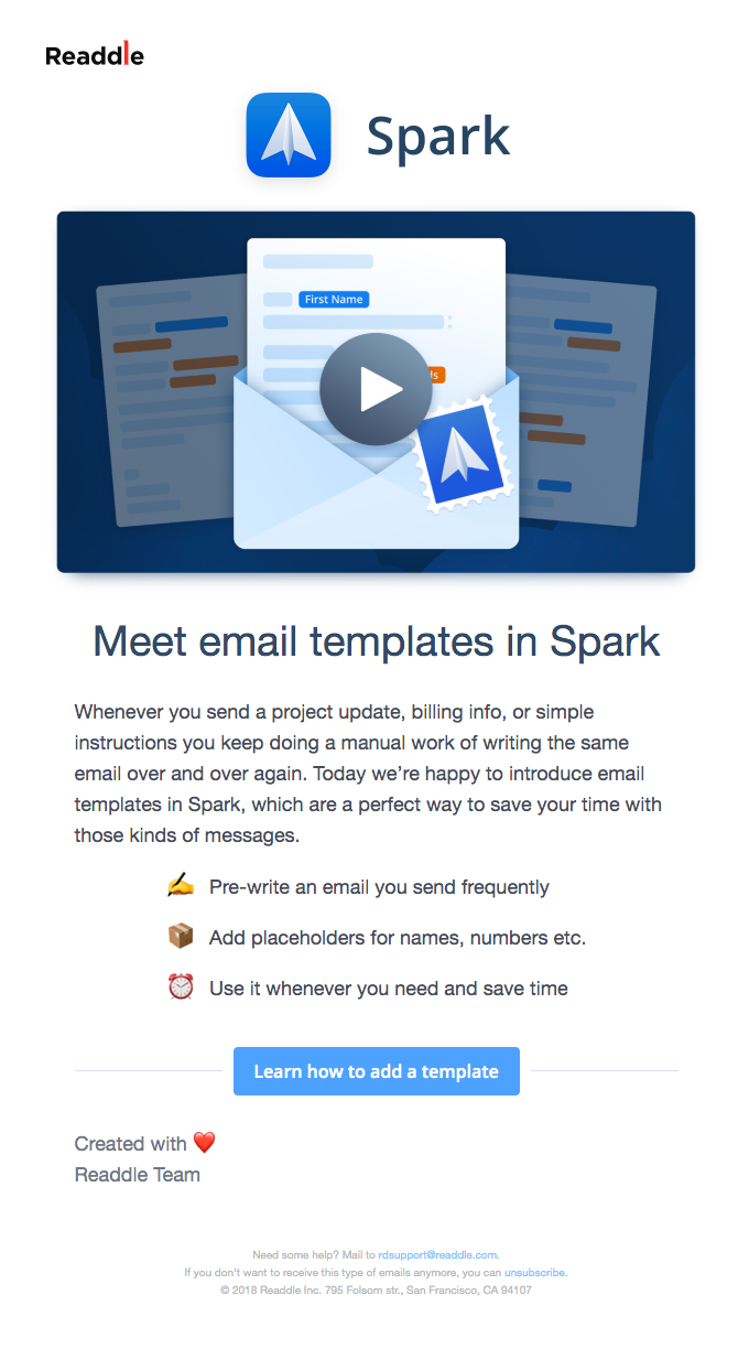 👏🏽Meet email templates in Spark