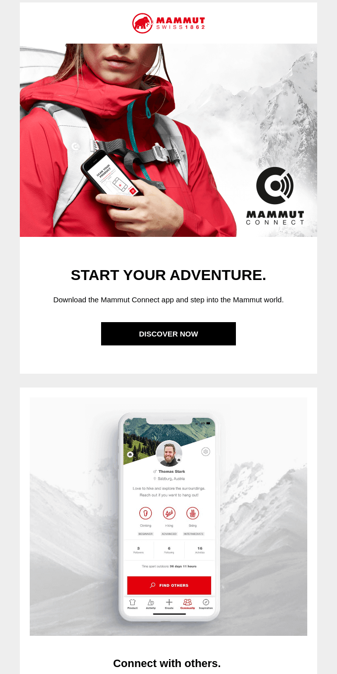 Meet other outdoor enthusiasts on Mammut Connect