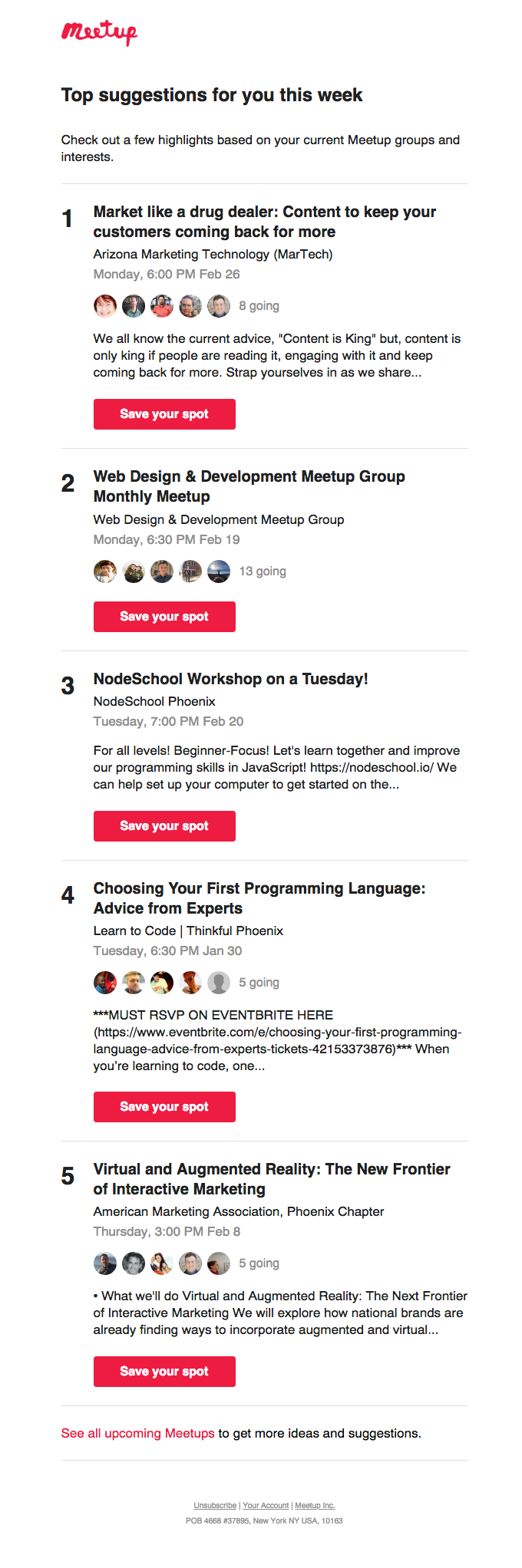 Meetups this week with: Marketing Technologists, Web Developers