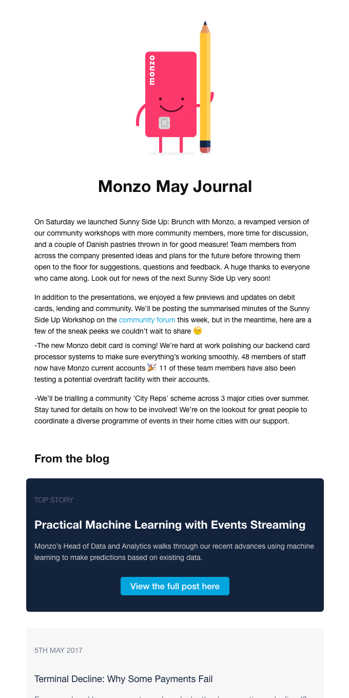 Monzo May Journal