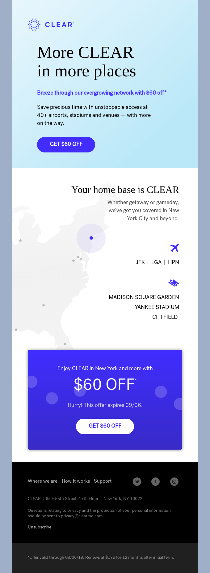 More CLEAR for $60 off