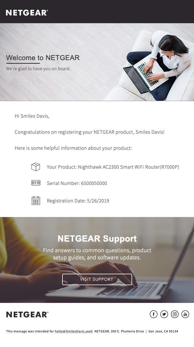NETGEAR Product Registration Confirmation