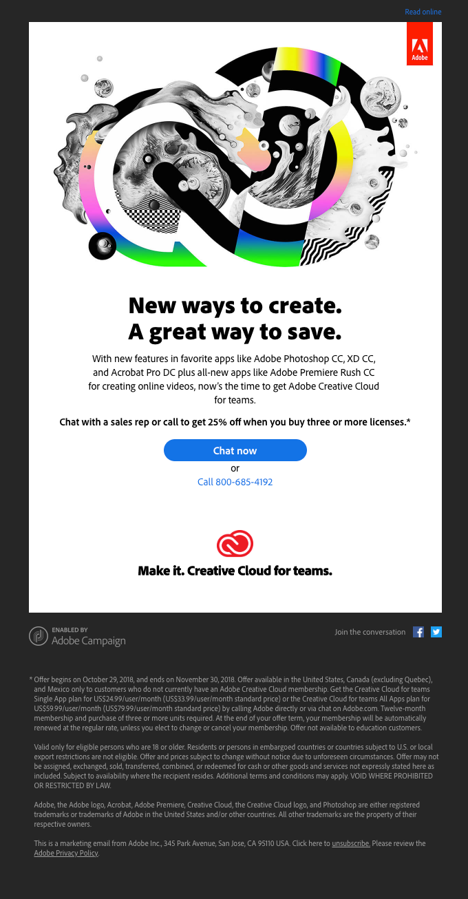 New apps. New features. Save big on Creative Cloud for teams.