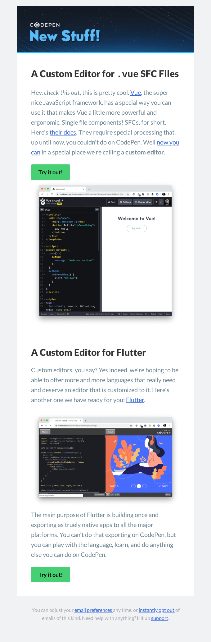 New Feature! Vue and Flutter