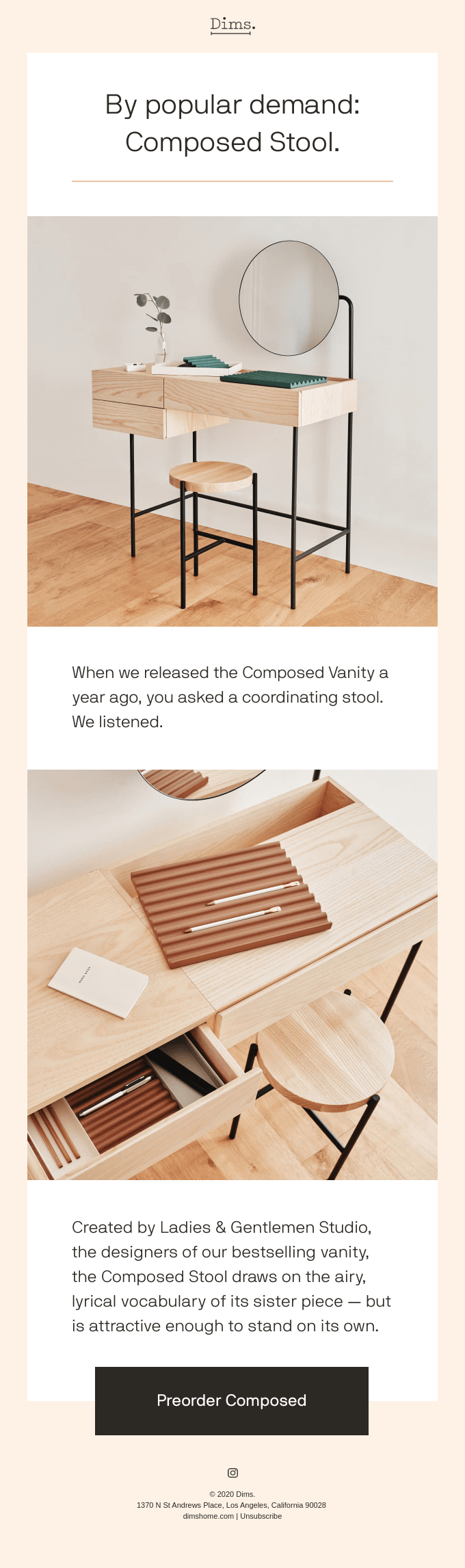 New in: Composed Stool.