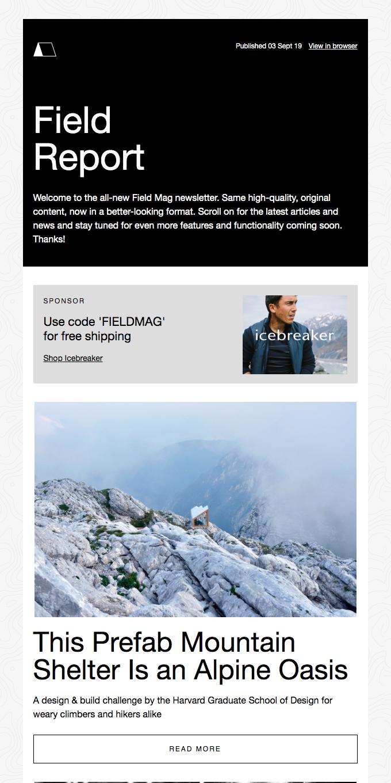 New Newsletter Design, Gear Picks, Prefab Alpine Cabins, and More