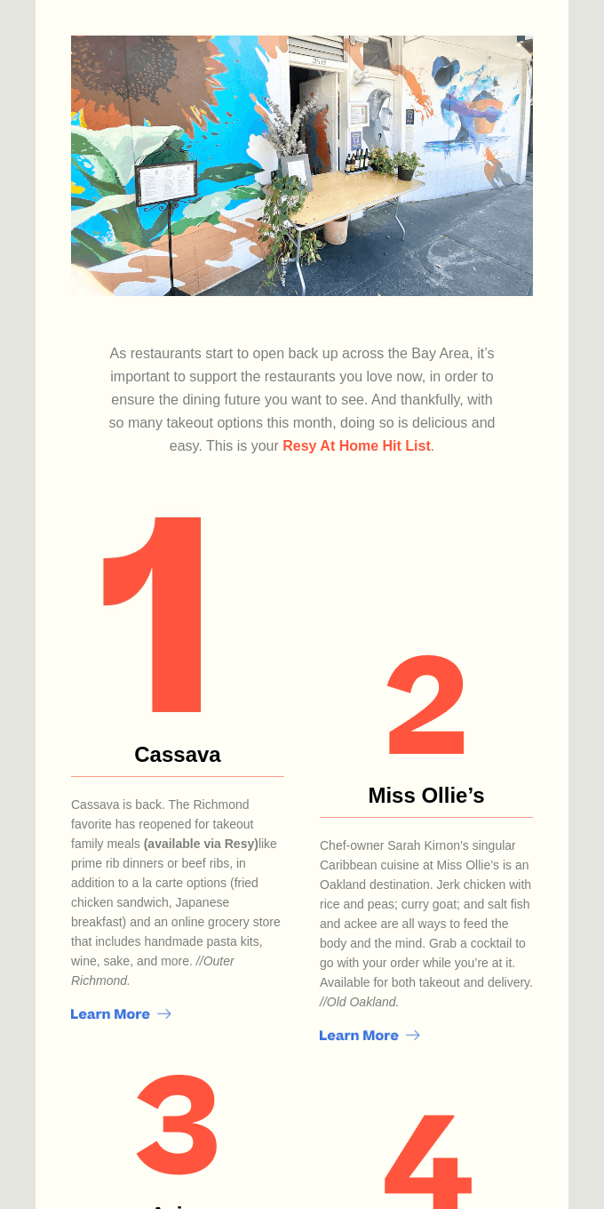 New on the Resy At Home Hit List: Cassava, Miss Ollie's, Z Zoul, and More
