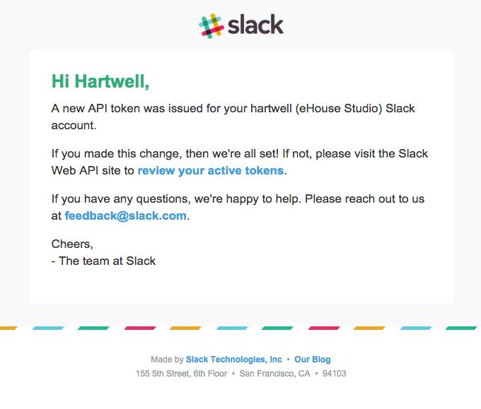 New Slack API token issued
