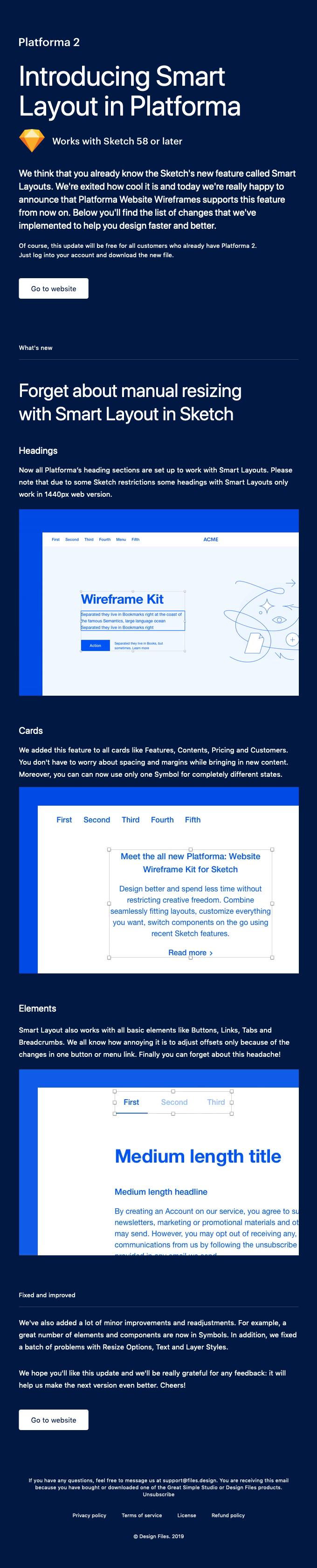 New: Smart Layouts in Platforma Website Wireframes