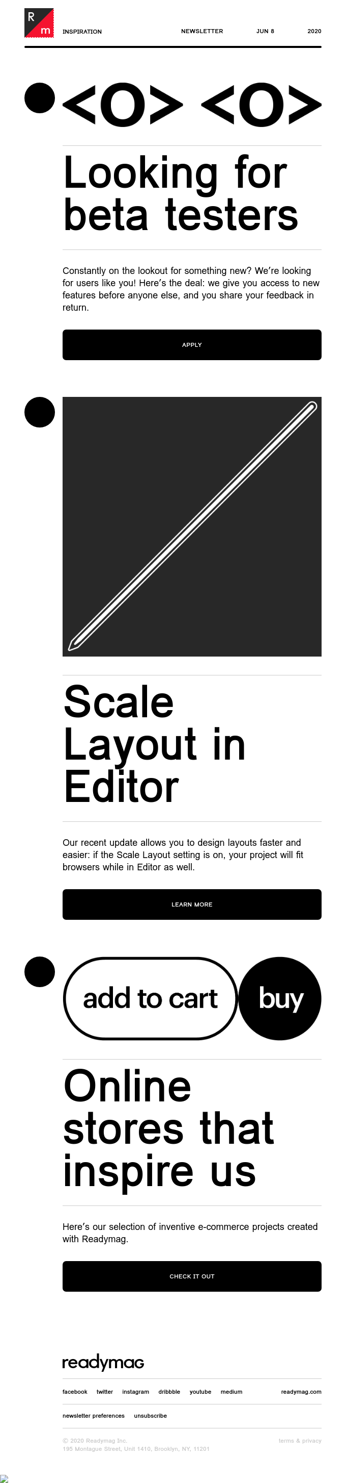 New things to try out: scale your layout, become a beta tester, create a store