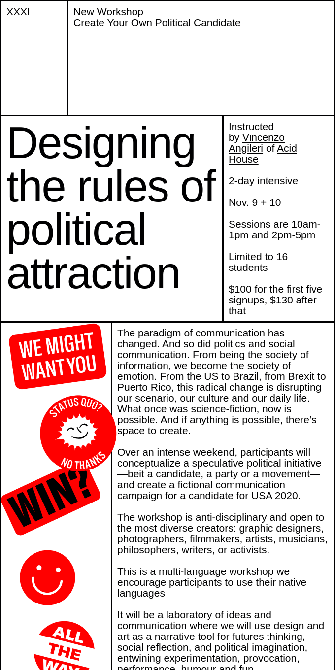 New Workshop at XXXI: Create Your Own Political Candidate!