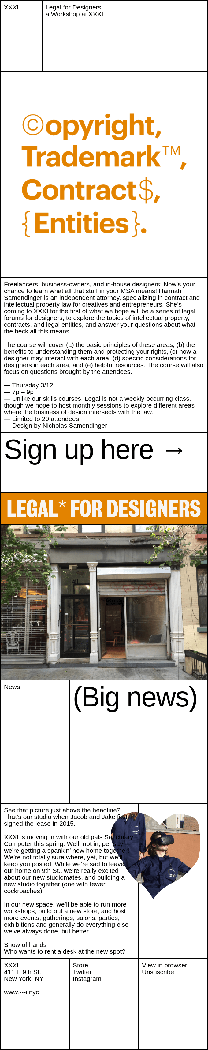 New Workshop at XXXI | Legal for Designers