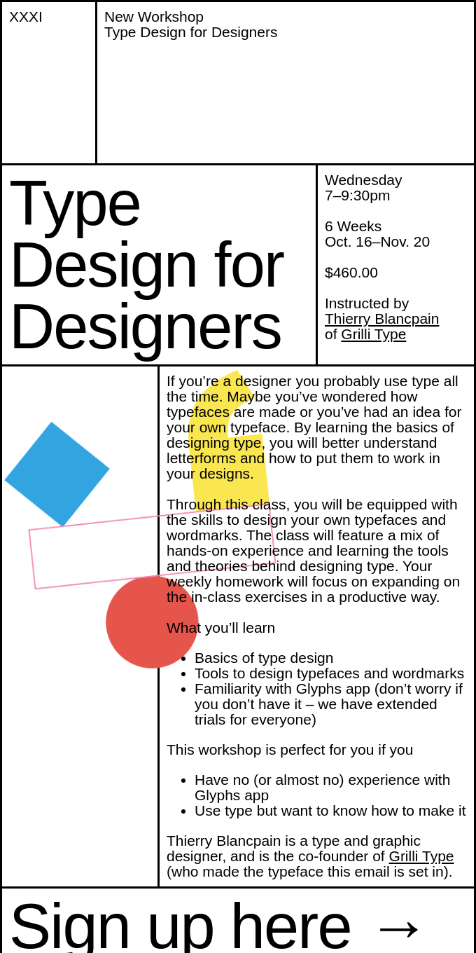 New Workshop at XXXI: Type Design for Designers