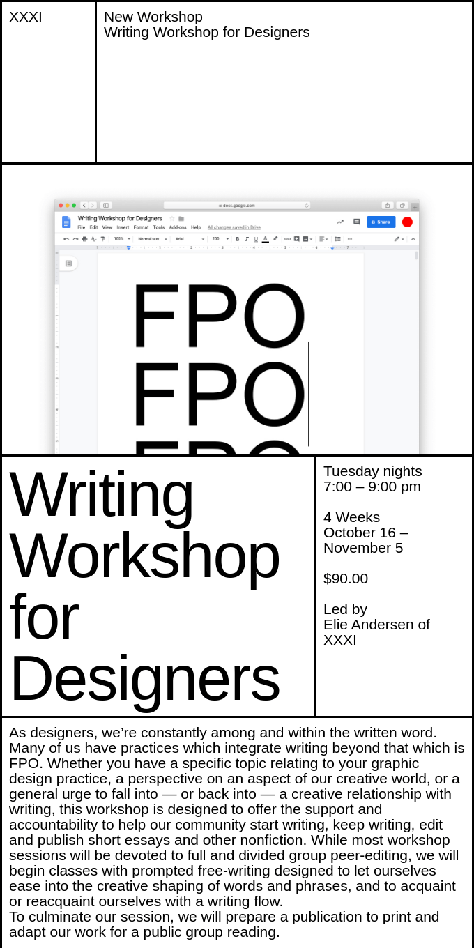 New Workshop at XXXI: Writing Workshop for Designers