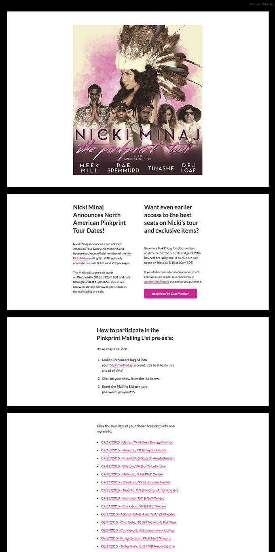 Nicki Minaj Announces North American Dates for The Pinkprint Tour!