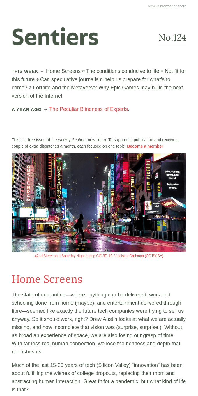 No.124 — Home Screens ⊗ Conducive to life ⊗ Not fit for this future