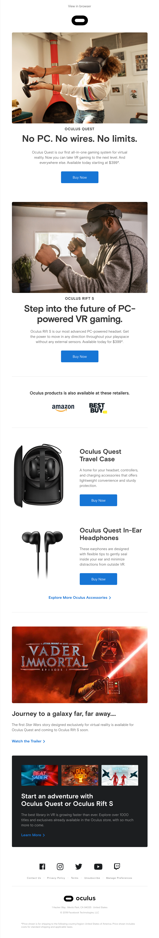 Oculus Quest and Oculus Rift S are shipping.