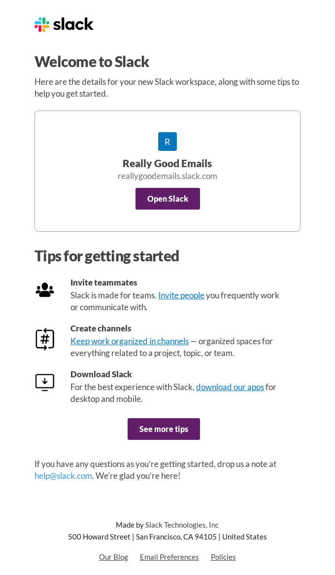 Really Good Emails on Slack: New Account Details