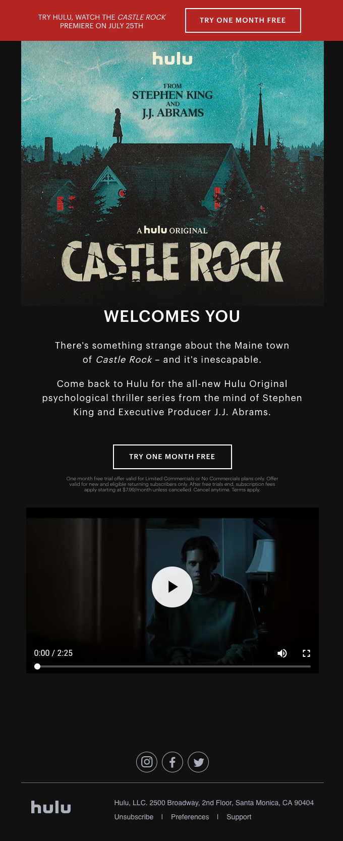 "ONE MONTH FREE: Watch the Series Premiere of ""Castle Rock"""