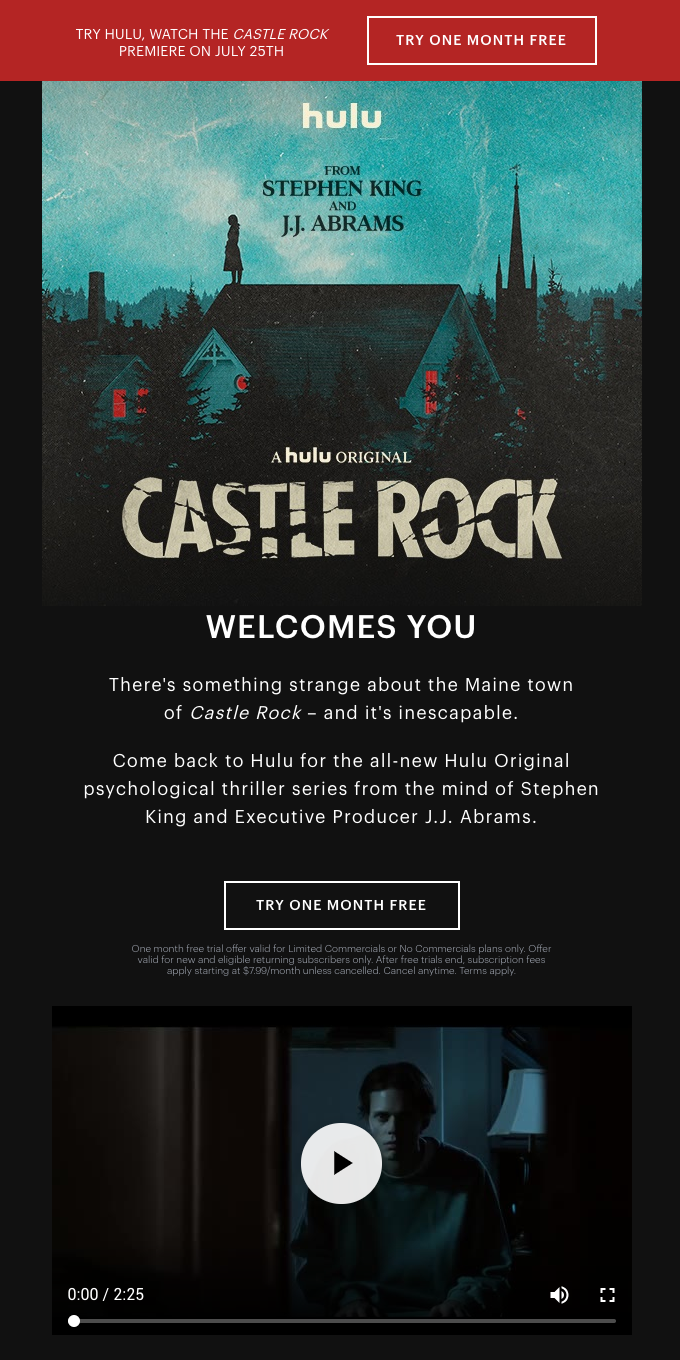 """ONE MONTH FREE: Watch the Series Premiere of """"Castle Rock"""""""