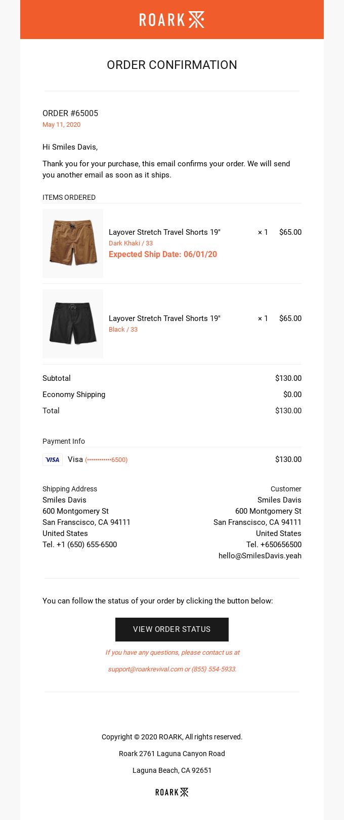 Order #65005 confirmed