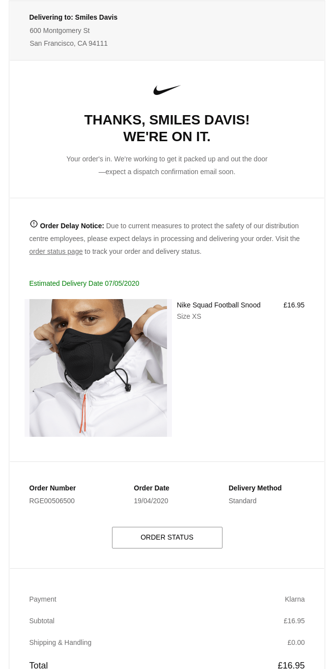 Order Received (Nike.com #RGE00506500)