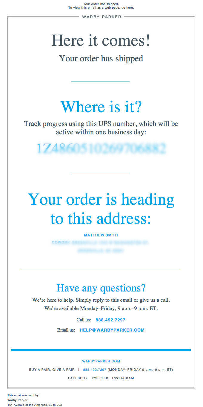 Order Shipped Email Design from Warby Parker
