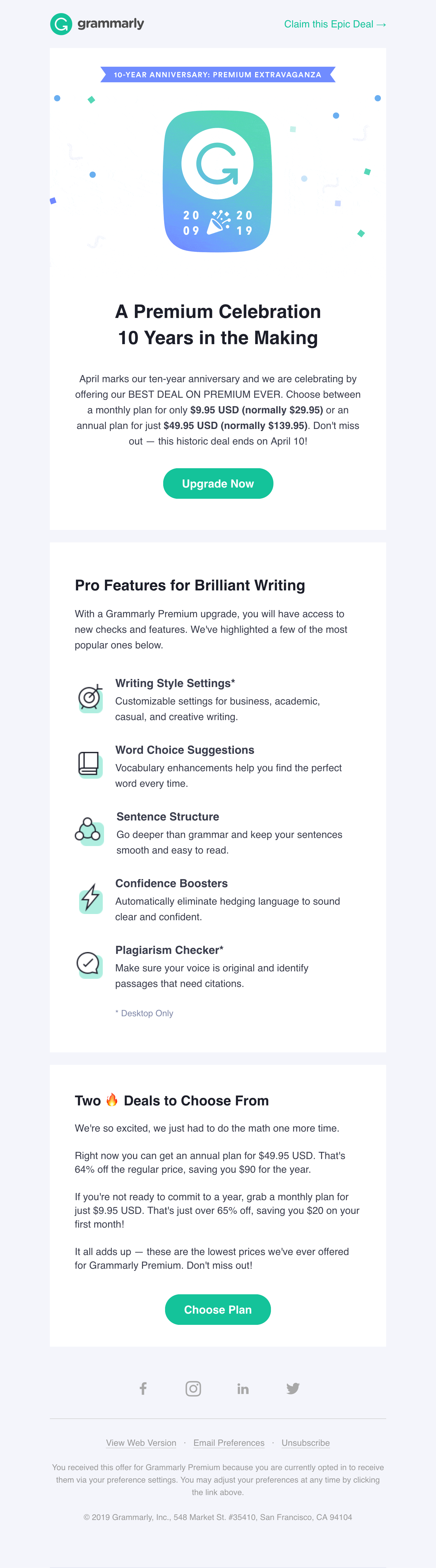 Our Best Upgrade Offer EVER to Celebrate 10 Years of Grammarly