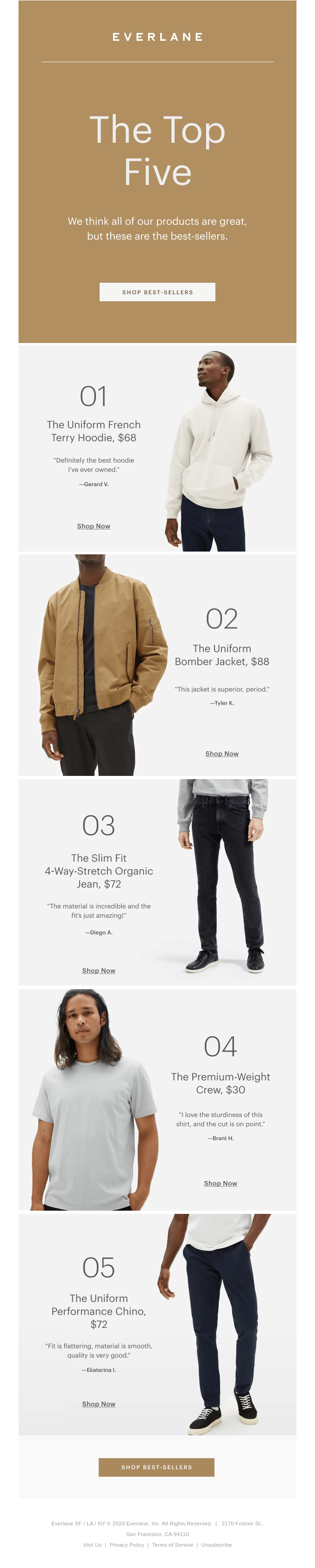 Our Top Five Best-Sellers