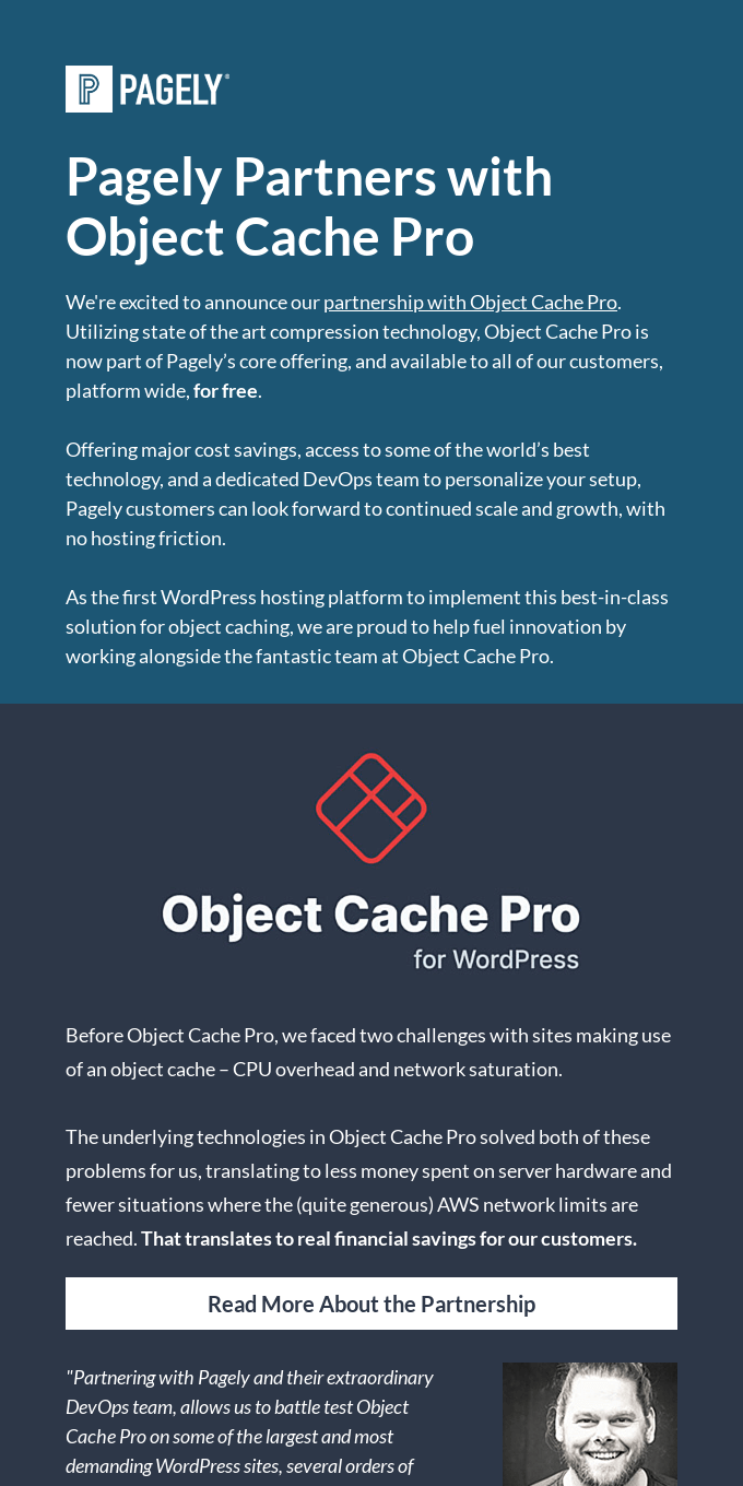Pagely Partners With Object Cache Pro