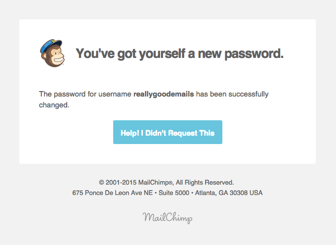 MailChimp Password Changed