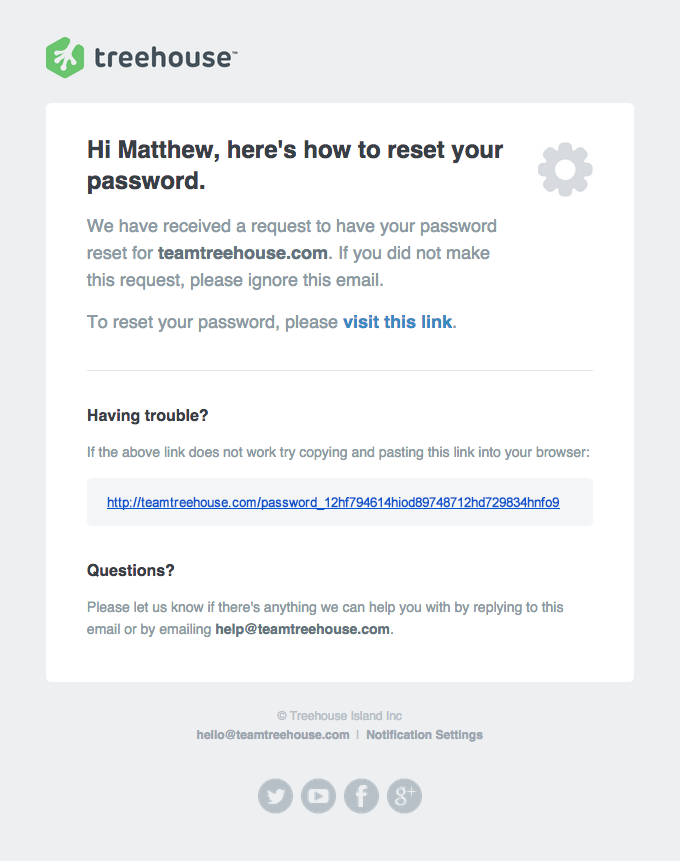 Password Reset Emails | Really Good Emails