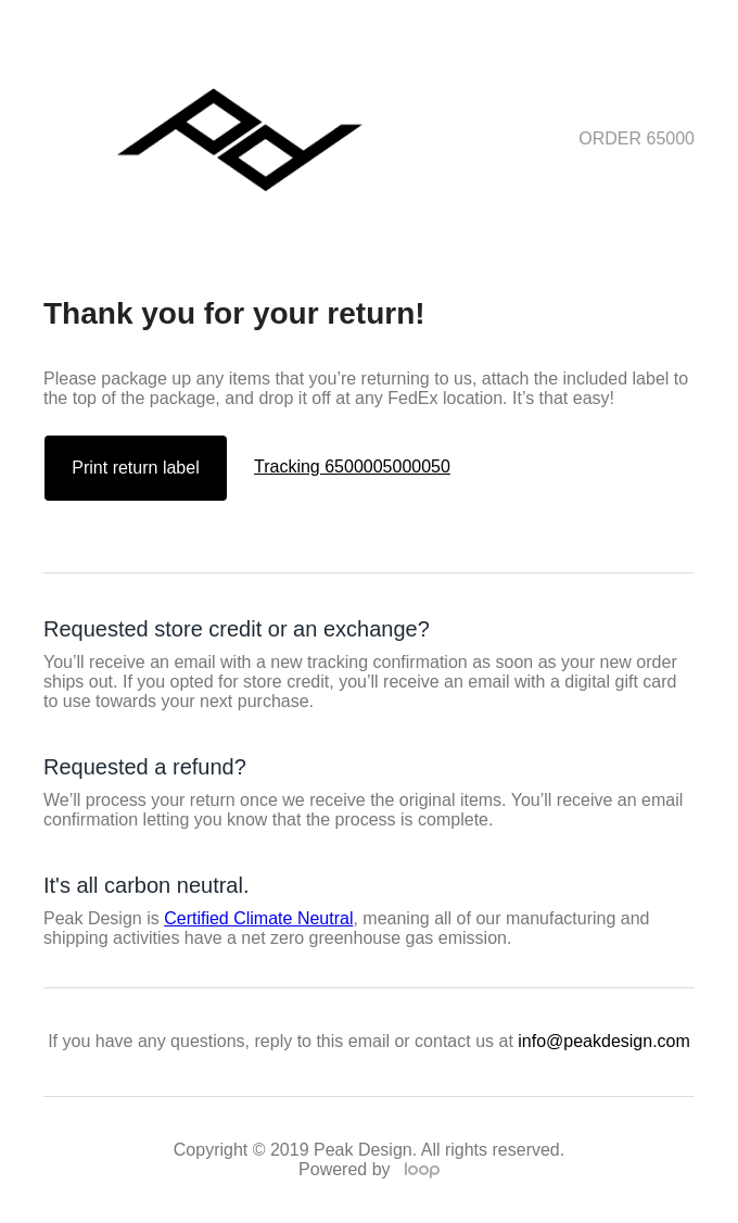 Peak Design Return Confirmation