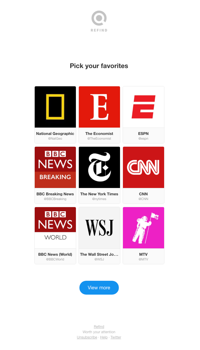 Pick your favorites: National Geographic, BBC Breaking News, and BBC News (World)