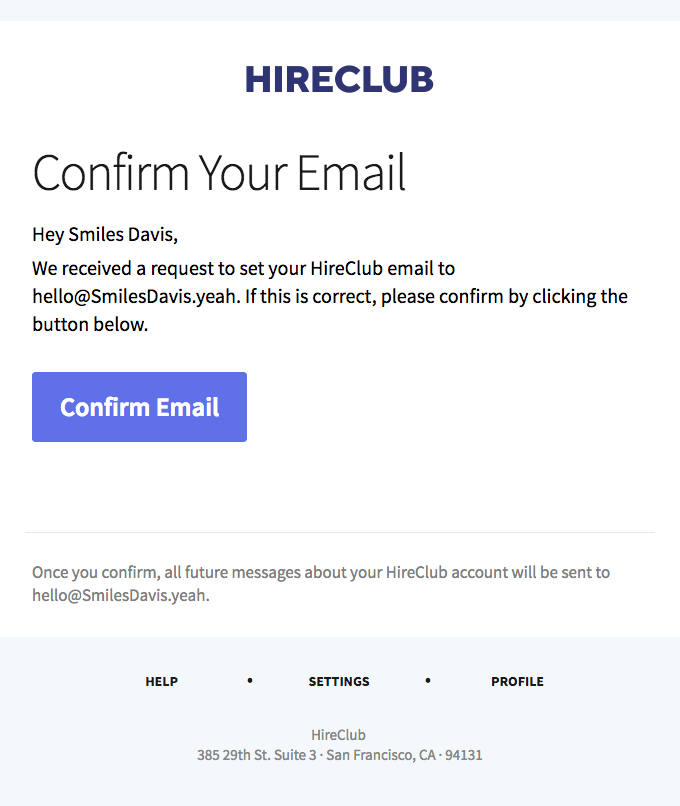 Please confirm your HireClub email | Really Good Emails