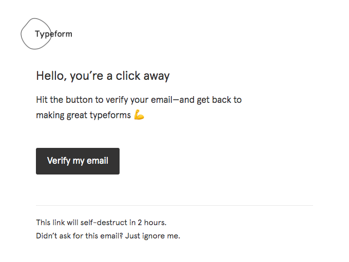 Please verify your email for Typeform