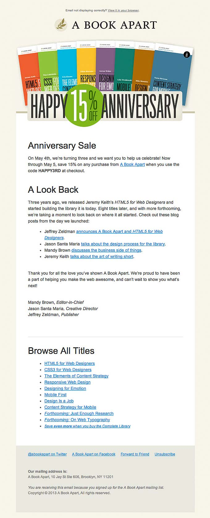 Product Promotional Email Design from A Book Apart