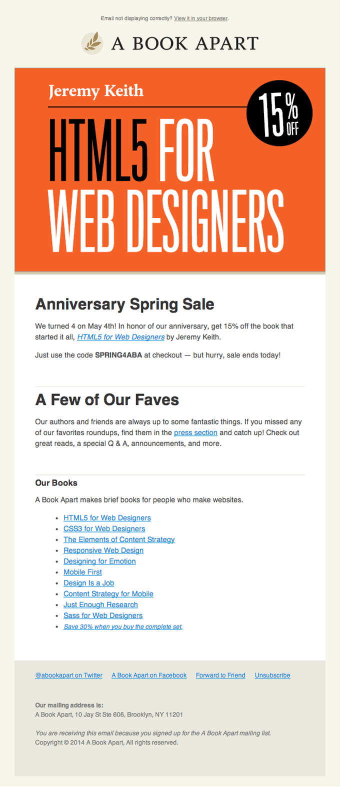 Product Sale Email Design from A Book Apart